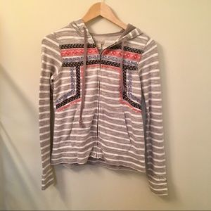 Lucky brand embroidered zip up hoodie size XS